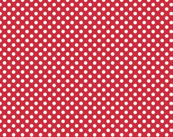 Le Creme Dots - Small Cream Dots in Red - Polka Dot Cotton Quilt Fabric - C610-80 - RBD Designers for Riley Blake Designs Fabrics (W2450)