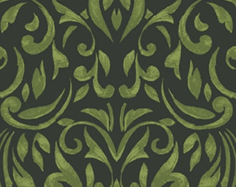 SUPER CLEARANCE!  One Yard REMNANT My True Love Gave to Me - Damask in Dark Green Cotton Quilt Fabric - Benartex Fabrics - 3873-40 (W384)