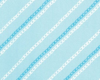 SEW STITCHY - Chain Stitch in Glass Aqua Blue - Cute Sewing Novelty Cotton Quilt Fabric - Aneela Hoey for Moda Fabrics - 18546-20 (W4129)