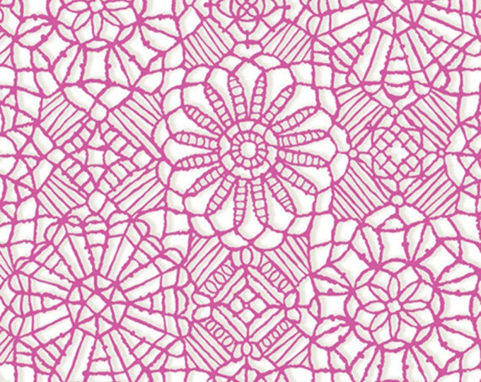 AMAZING LACE - Lace in White / Bubblegum Pink - (Not Actual Lace!!) Cotton Quilt Fabric - Quilting Treasures Fabrics - 24632-ZP (W5234)