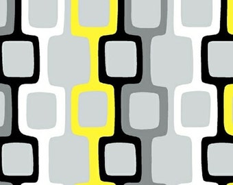 GRAFFITI - Geometric in Yellow - Black Grey Gray Cotton Quilt Fabric - by Another Point of View for Windham Fabrics - 37403-2 (W2656)