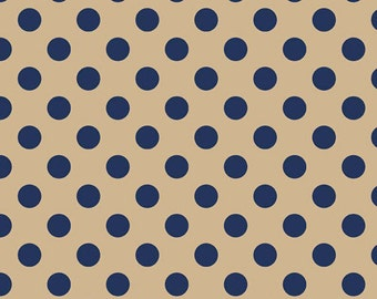 Half Yard Medium Dots - Tone on Tone in Tan and Navy - Cotton Quilt Fabric - C430-25 - RBD Designers for Riley Blake Designs (W2500)