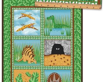 DINO AGE - Blocks Panel in Green - Dinosaurs Block Panels Cotton Quilt Fabric - Matthew Pridemore for Benartex Fabrics - 4333-40 (W5135)