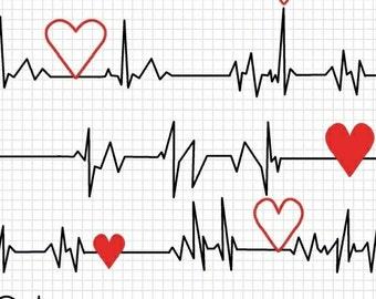 Calling All Nurses - Heart Beat EKG in White - Cotton Quilt Fabric - Whistler Studios for Windham Fabrics 37302-2 (W450)