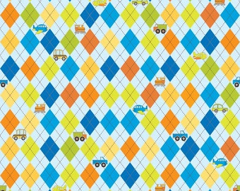 SUPER CLEARANCE!  One Yard On The Go - Argyle in Blue - Orange Green Cotton Quilt Fabric - Bo Bunny for Riley Blake Fabrics (W566)