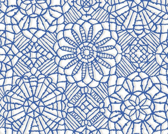 AMAZING LACE - Lace in White / Royal Blue - (Not Actual Lace!!) Cotton Quilt Fabric - Quilting Treasures Fabrics - 24632-ZY (W5240)
