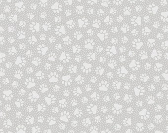 QUILTING ILLUSIONS - Paw Prints in Gray - Grey Cotton Quilt Fabric - Dog Cat Paws Print - Quilting Treasures Fabrics - 26762-K (W4901)