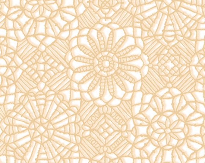 AMAZING LACE - Lace in White / Tan - (Not Actual Lace!!) Cotton Quilt Fabric - Quilting Treasures Fabrics - 24632-ZE (W5230)
