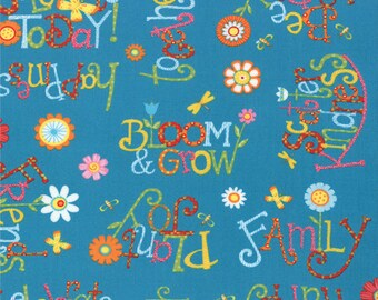 Half Yard Bloomin' Fresh - Thoughts of Spring in Sky Blue - Cotton Quilt Fabric - designed by Deb Strain for Moda Fabrics - 19662-16 (W2758)