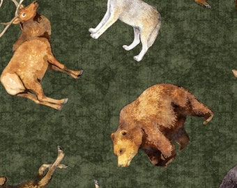 TIMBERLAND TRAIL - Tossed Animals in Forest Green - Animal Cotton Quilt Fabric - Dan Morris for Quilting Treasures Fabrics - 26806-F (W5034)