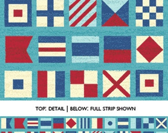 SUPER CLEARANCE!! One Yard Ships Ahoy - Nautical Flags in Azure Blue - Nautical Cotton Quilt Fabric - from Benartex (W652)