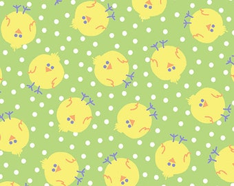 FUNNY BUNNIES - Chicky Chicks in Lime Green - Easter Chick Cotton Quilt Fabric - by Kanvas Studios for Benartex Fabrics - 8542-44 (W4786)