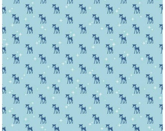 COZY CHRISTMAS - Reindeer in Blue -  Holiday Cotton Quilt Fabric - C5364-BLUE - by Lori Holt for Riley Blake Designs Fabrics (W4312)