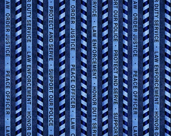 PROTECT and SERVE - Stripe in Navy Blue - Police Stripes Cotton Quilt Fabric - Dan Morris - Quilting Treasures Fabrics - 26133-N (W5307)