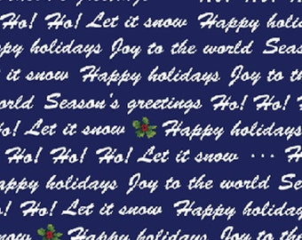 SALE!! Winter Wishes - Winter Words in Navy Blue - Cotton Quilt Fabric - Michele D'Amore - Benartex Fabrics - 3485-58 (W371)