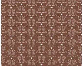 COWBOY - Boots in Brown - Cotton Boot Quilt Fabric - C5636-BROWN - Samantha Walker for Riley Blake Designs Fabrics (W4331)