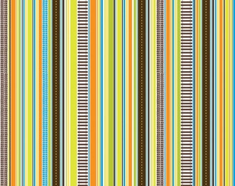 SUPER CLEARANCE!  One Yard On The Go - Stripes in Brown - Orange Green Cotton Quilt Fabric - Bo Bunny for Riley Blake Fabrics  (W573)