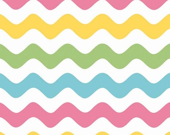 One Yard Wave - Waves in Girl Colors - Cotton Quilt Fabric - RBD Designers for Riley Blake Designs - C415-03 (W3286)