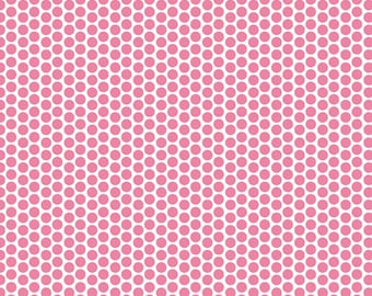 "19"" REMNANT Honeycomb Dots - Reversed Dot in Hot Pink - Cotton Quilt Fabric - C800-70 - RBD Designers for Riley Blake Designs (W3314)"