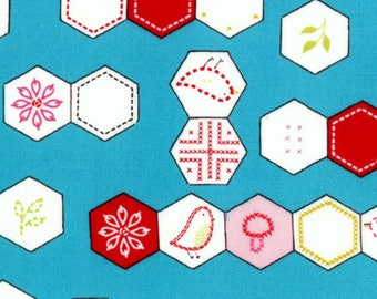 SEW STITCHY - Hexagons in Glass Aqua Blue / Red - Cute Hexagon Novelty Cotton Quilt Fabric - Aneela Hoey for Moda Fabrics - 18542-12 (W4136)