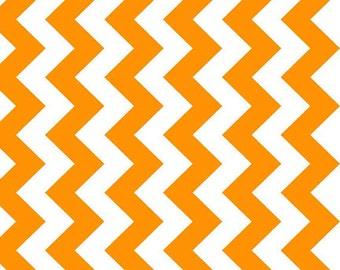 NEONS - Medium Chevron in Neon Orange - Cotton Quilt Fabric - C320-105 - Riley Blake Designs Fabrics (W2470)