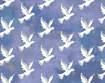 Faith - Doves in Blue - Inspirational Dove Birds Cotton Quilt Fabric - Whistler Studios for Windham Fabrics - 43027-4 (W4211)