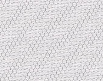 CHICKEN WIRE - Blender in White - Farmhouse Cotton Quilt Fabric - Moda Classics from Moda Fabrics - 8255-1 (W4415)