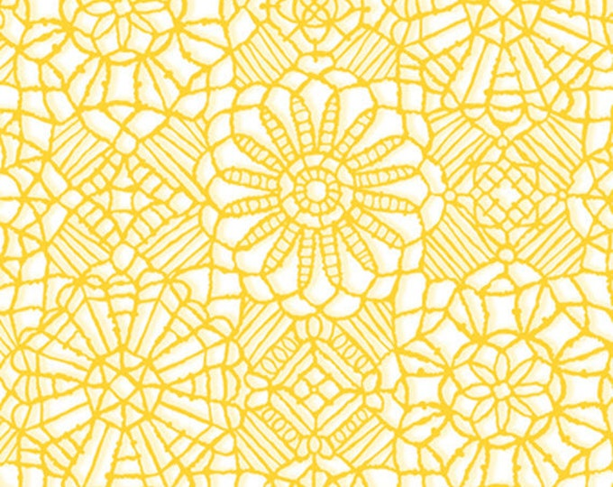 AMAZING LACE - Lace in White / Canary Yellow - (Not Actual Lace!!) Cotton Quilt Fabric - Quilting Treasures Fabrics - 24632-ZS (W5237)