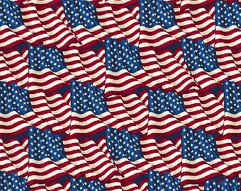 Half Yard American Heroes - Flags - Cotton Quilt Fabric - by Whistler Studios for Windham Fabrics (W1303)