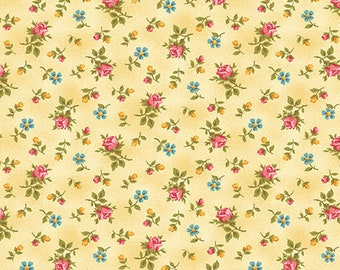 FOREVER LOVE (Flora) - Rose Buds in Butter - Yellow Floral Cotton Quilt Fabric - Eleanor Burns for Benartex Fabrics - 10143-30 (W4817)