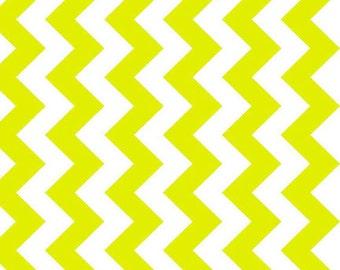 NEONS - Medium Chevron in Neon Green / White - Chevrons Stripe Stripes Cotton Quilt Fabric - C320-104 - Riley Blake Designs Fabrics (W2469)