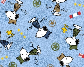 Half Yard Peanuts - Hugs for Heroes - Military Snoopy Toss in Wedgewood Blue - Cotton Quilt Fabric - Quilting Treasures - 22771-W (W3105)