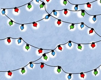 PEANUTS - Christmas Time - Christmas Lights in Blue - Charlie Brown and Snoopy Cotton Quilt Fabric - Quilting Treasures - 22156-B (W3116)