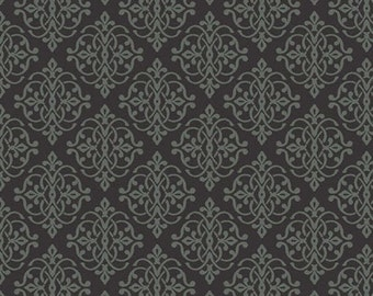 One Yard He Still Loves Me - Mini Medallion in Black / Green - Cotton Quilt Fabric - by Jackie Robinson for Benartex Fabrics 3277-12 (W2912)