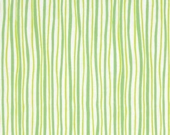 FUNNY BUNNIES - Wavy Stripe in Green / Lime - Easter Stripes Cotton Quilt Fabric - by Kanvas Studios for Benartex Fabrics - 8543-44 (W4789)