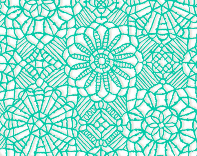 AMAZING LACE - Lace in White / Jade Green - (Not Actual Lace!!) Cotton Quilt Fabric - Quilting Treasures Fabrics - 24632-XG (W5229)