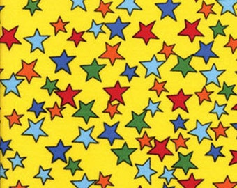 SALE!! In The Dog House - Be A Star in Yellow - Red Blue Green Stars Cotton Quilt Fabric - by Kanvas - Benartex Fabrics - 5876-33 (W177)