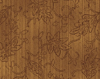 SUPER CLEARANCE!! One Yard Tried and True - Leaf Embroidery in Amber Brown - Cotton Quilt Fabric - Nancy Halvorsen - Benartex Fabrics (W709)