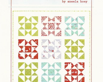 """Festive Quilt Pattern - Uses 9 Fat Quarters - by Aneela Hoey - 62"""" x 62"""" - AH 1205 (W1734)"""