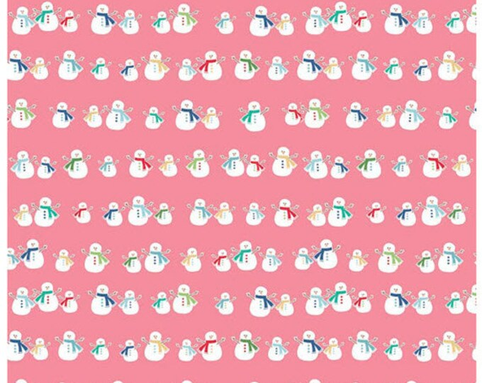 COZY CHRISTMAS - Snowmen in Pink -  Snowman Cotton Quilt Fabric - C5363-PINK - by Lori Holt for Riley Blake Designs Fabrics (W4311)