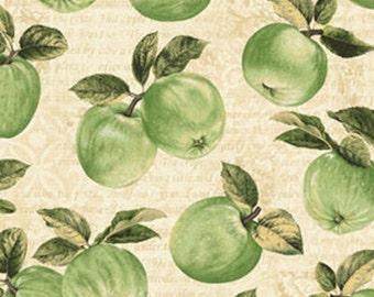 Half Yard Apple Picking Time - Apple Orchard in Cream - Cotton Quilt Fabric - Benartex (W1814)