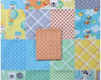 BREEZY BABY Fat Quarter Bundle - 17 Different Prints - Cute Baby Bears Bunnies Cotton Quilt Fabric - Greta Lynn for Benartex Fabrics (W4422)