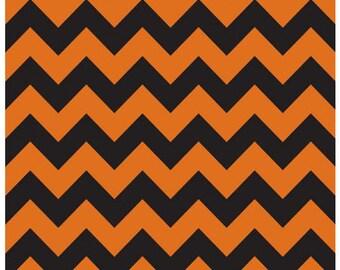 Medium Chevron - Orange / Black - Cotton Quilt Chevrons Fabric - C380-02 - Riley Blake Designs Fabrics (W4291)