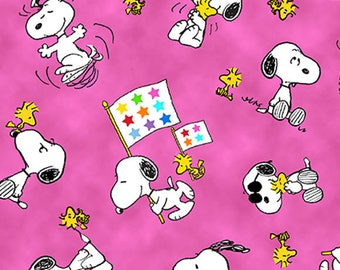 PROJECT LINUS - Woodstock Snoopy Toss in Pink - Peanuts Charlie Brown Cotton Quilt Fabric - Quilting Treasures Fabrics - 22324-P (W4009)