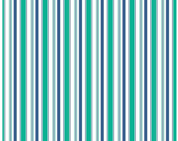 COZY CHRISTMAS - Stripes in Navy Blue -  Green Stripe Cotton Quilt Fabric - C5368-NAVY - Lori Holt for Riley Blake Designs Fabrics (W4323)