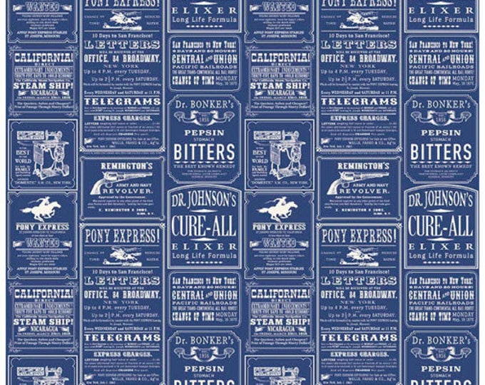 COWBOY - Ads in Blue - Bitters, Pony Express Cotton Quilt Fabric - C5632-BLUE - Samantha Walker for Riley Blake Designs Fabrics (W4327)