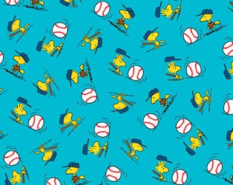 PEANUTS ALL STARS - Woodstock Toss in Turquoise Blue - Charlie Brown Cotton Quilt Fabric -Quilting Treasures Fabrics - 24530-Q (W4000)