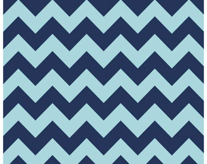 Medium Chevron - Tone on Tone in Navy Blue - Cotton Quilt Chevrons Fabric - C380-23 - Riley Blake Designs Fabrics (W4294)