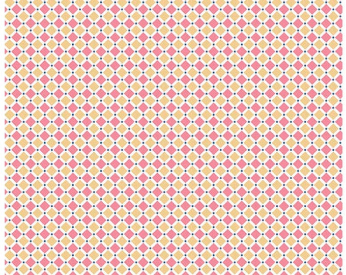 COZY CHRISTMAS - Squares in Pink / Yellow -  Square Cotton Quilt Fabric - C5366-PINK - by Lori Holt for Riley Blake Designs Fabrics (W4318)