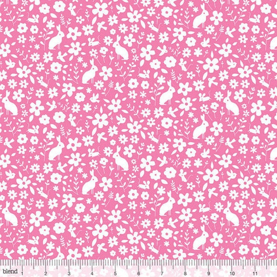 Bunny Rabbit Floral Toss By 1//2 Yard Blend Fabric ~ Garden Party in Aqua Blue